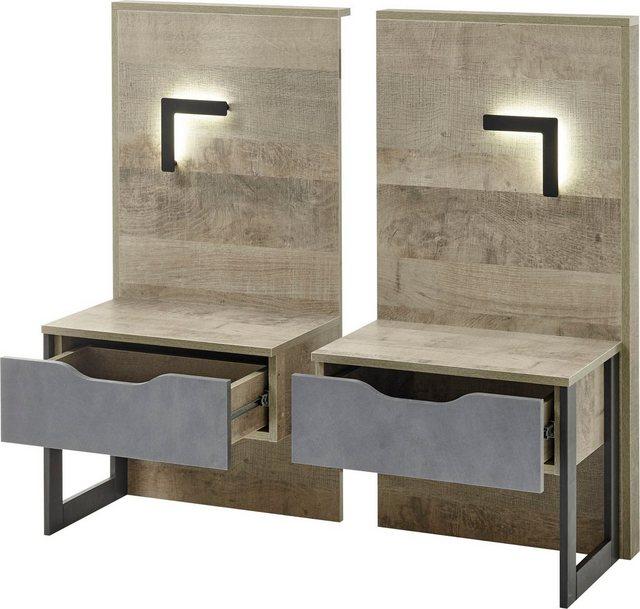 Schlafzimmer Sets - Places of Style Schlafzimmer Set »Malthe«, (Set, 5 St., 2 Nachtkonsolen inkl. Beleuchtung. Bett mit Liegefläche 140x200 cm. Kleiderschrank mit 4 Türen (teilverspiegelt) und 2 Schubladen. Kommode mit 1 Tür und 4 Schubladen), im trendigen Design  - Onlineshop OTTO