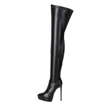Giaro »Giaro SPIRE Schwarz Black Matte Stiefel Kniestiefel Lederstiefel« Overkneestiefel Vegan