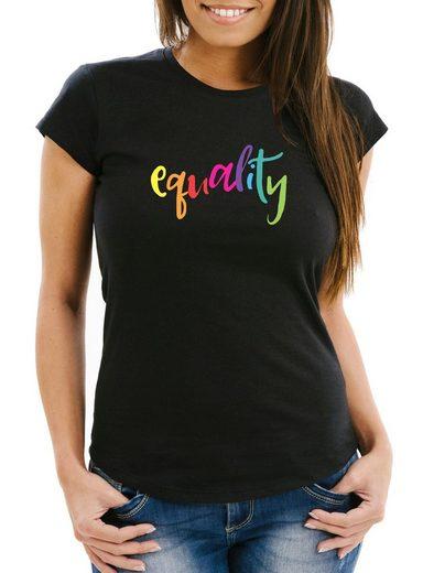 MoonWorks Print-Shirt »Damen T-Shirt Equality Pride LGBT Slim Fit Moonworks®« mit Print
