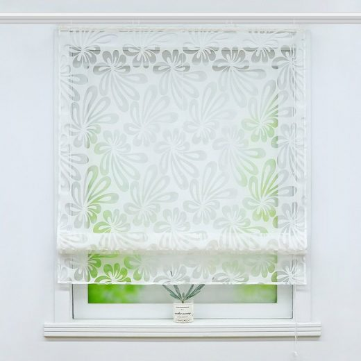 Raffrollo »Olivia«, Delien, mit Klettband, Ausbrenner Raffrollo mit Floral Motiv transparente Raffgardine mit Klettschiene Weiß 1 Stück