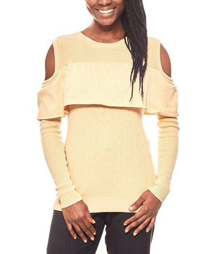 Vivance Rundhalspullover »vivance collection femininer Volant-Pullover mit Cut-Outs Winter-Pullover Beige«