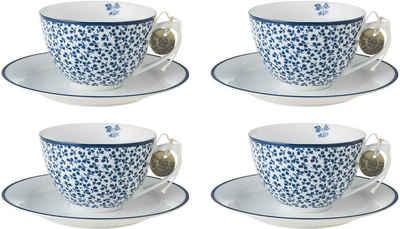 LAURA ASHLEY BLUEPRINT COLLECTABLES Cappuccinotasse »Floris«, Porzellan, 4 Tassen, 4 Untertassen