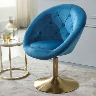 Wohnling Polsterstuhl »WL6.301«, Samt Blau / Gold Design Drehstuhl, Clubsessel Polsterstuhl mit Rückenlehne, Drehsessel Cocktailsessel Lounge, Sessel mit Stoffbezug