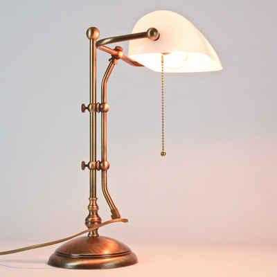 Licht-Erlebnisse Schreibtischlampe »LAMPADE MINISTERO«, Premium Bankerlampe Tisch Echt-Messing H:46cm hochwertige Handfertigung
