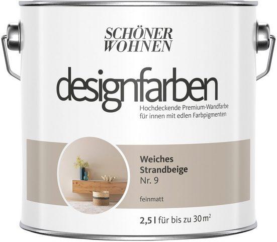 SCHÖNER WOHNEN FARBE Farbe »Designfarben«, Weiches Strandbeige Nr. 9, feinmatt 2,5 l