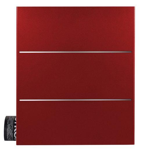 MOCAVI Briefkasten »MOCAVI Box 141 Design-Briefkasten mit Zeitungsfach rubin-rot (RAL 3003) mit Edelstahl-Detail«