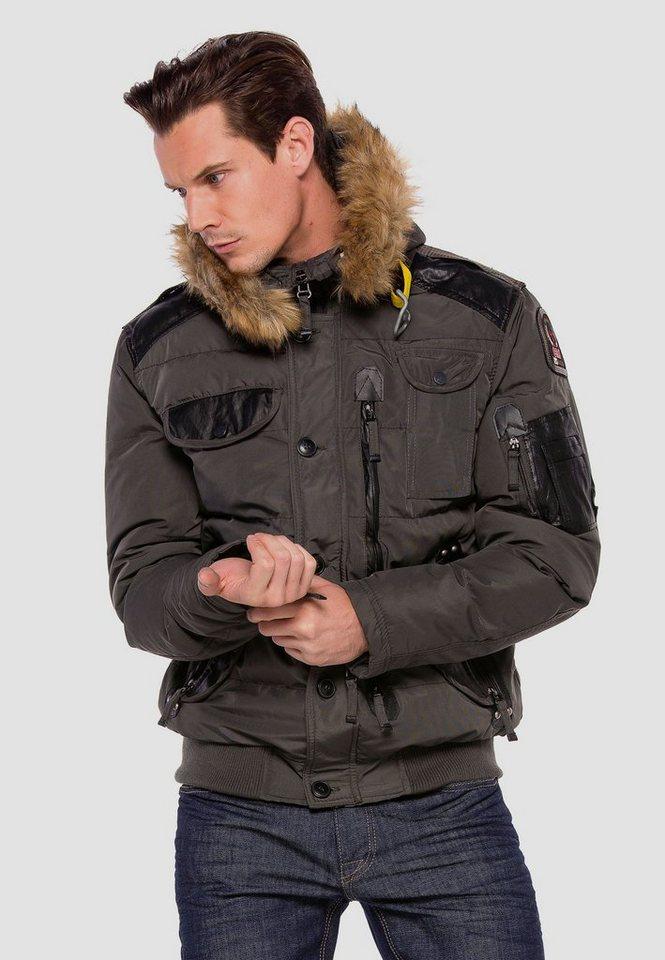 cipo & baxx -  Winterjacke mit abnehmbaren Pelzkragen