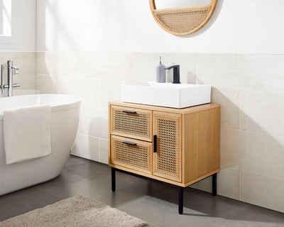 COUCH♥ Waschbeckenunterschrank »Feines Geflecht« Rattan Einsatz, viel Stauraum, 1 Schublade, 2 Türen