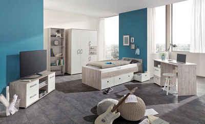 arthur berndt Jugendzimmer-Set »Bente«, (Set, 5-St., Bett + 4 trg. Schrank + Schreibtisch + Standregal + Lowboard)