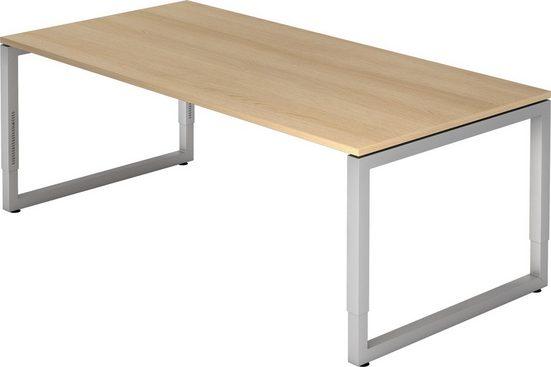 bümö Schreibtisch »OM-RS2E-S«, höhenverstellbar - Rechteck: 200x100 cm - Gestell: Silber, Dekor: Eiche