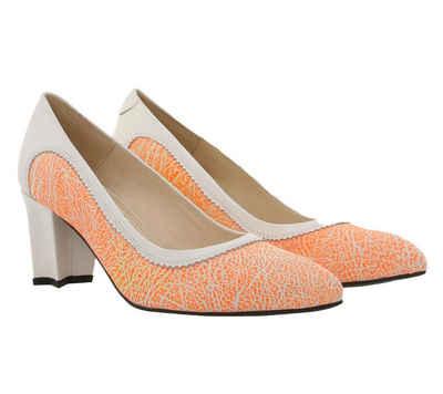 Tiggers »Tiggers Leder-Pumps Wega 03 II auffallende High Heels für Frauen mit Sternform-Absatz Party-Schuhe Orange-Weiss« Pumps