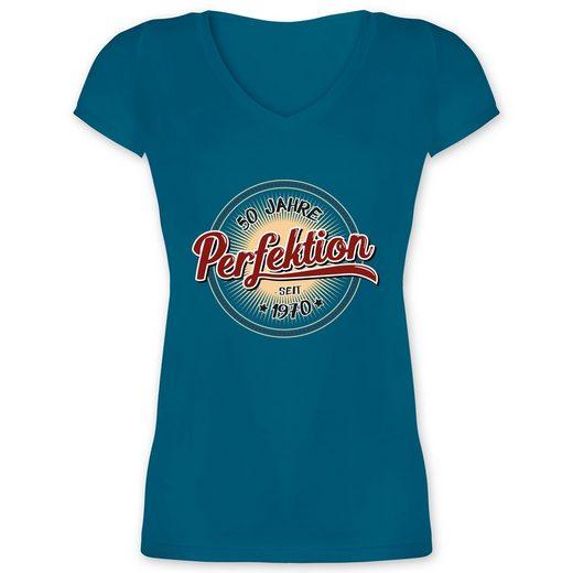 Shirtracer T-Shirt »50 Jahre Perfektion seit 1970 - Damen T-Shirt mit V-Ausschnitt - T-Shirts« Geburtstag