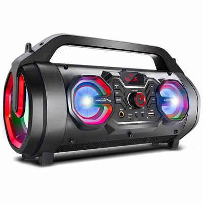 Audiocore AC875 Bluetooth-Lautsprecher (30 W, inkl. Fernbedienung, Equalizer, Mikrofon-Aufnahme, IPX4, USB, AUX, MicroSD, FM-Radio)