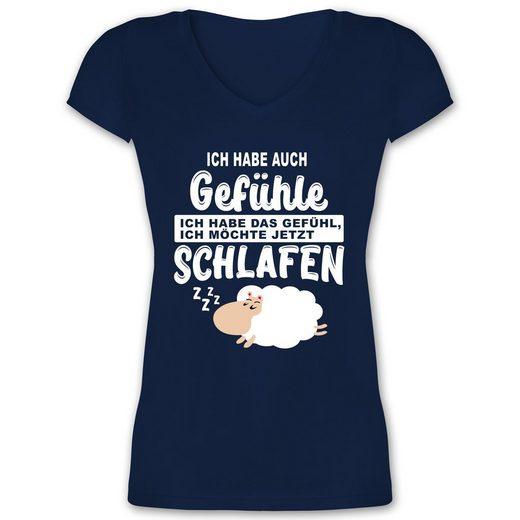Shirtracer T-Shirt »Ich habe auch Gefühle Ich habe das Gefühl ich möchte jetzt schlafen - Damen T-Shirt mit V-Ausschnitt«