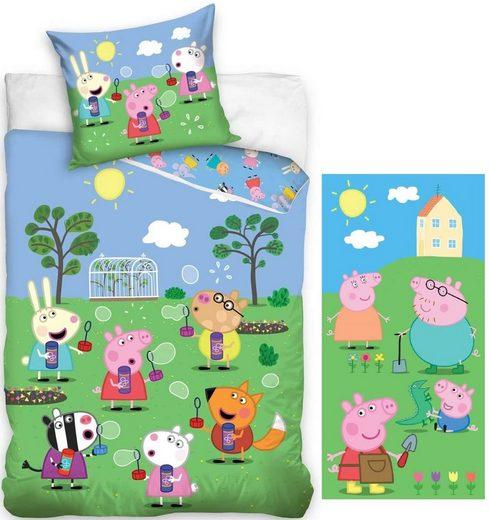 Kinderbettwäsche »Peppa Pig - Wende-Bettwäsche-Set, 135x200 und Badetuch, 70x140 cm - Peppa Wutz«, Peppa Pig, 100% Baumwolle