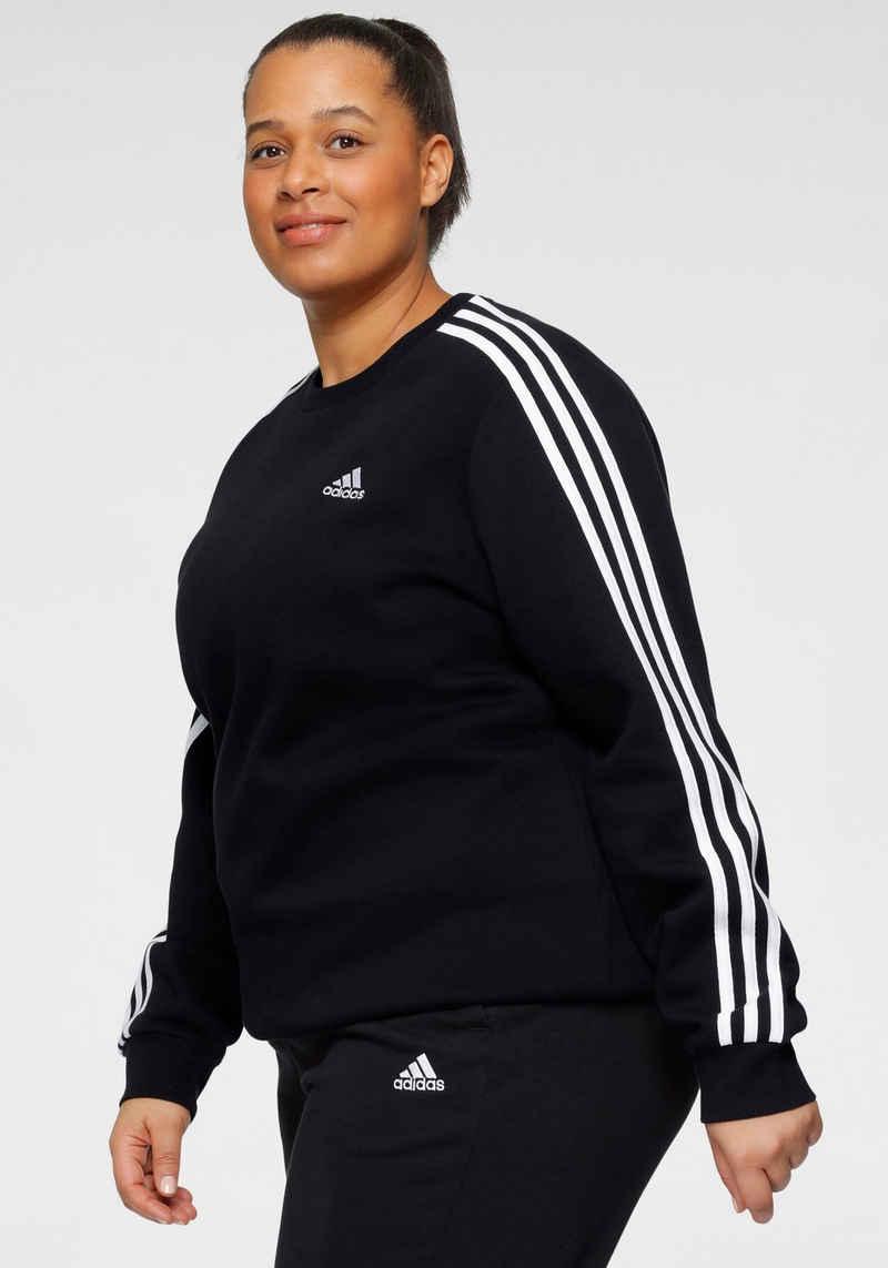 adidas Performance Sweatshirt »PLUS SIZE 3-STRIPES FLEECE ESSENTIALS REGULAR WOMENS«