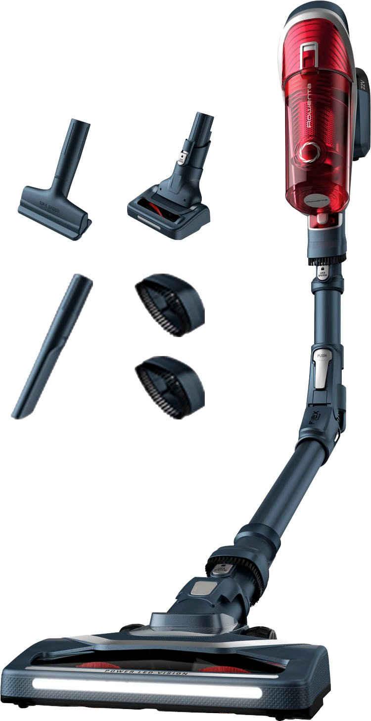 Rowenta Akku-Stielstaubsauger RH9678 XForce Flex 8.60 Animal Kit, 185 Watt, beutellos, kabelloser Akku-Staubsauger; Mini Turbobürste gegen Tierhaare; Flex-Technologie; LED Leuchten