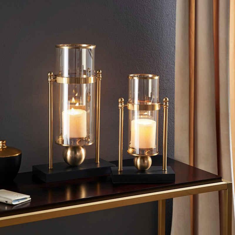 Leonique Windlicht, Kerzenhalter aus Glas und Metall