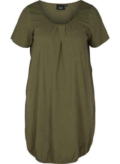 Zizzi Sommerkleid Große Größen Damen Kurzarm Kleid aus Baumwolle