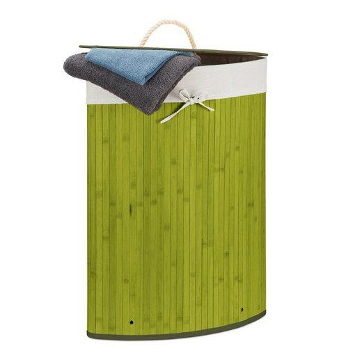relaxdays Wäschekorb »Eckwäschekorb Bambus«