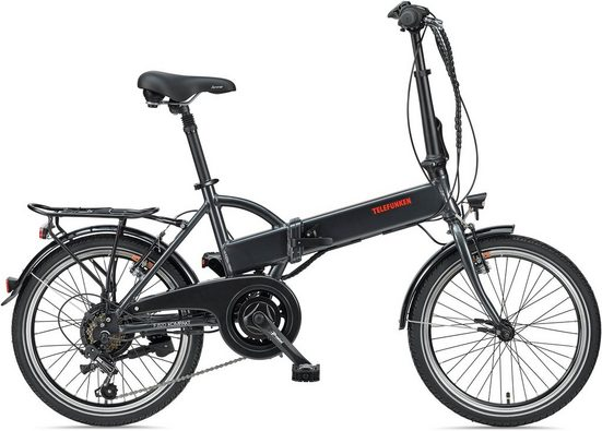 Telefunken E-Bike »Kompakt F820«, 6 Gang Shimano Tourney Schaltwerk, Heckmotor 250 W