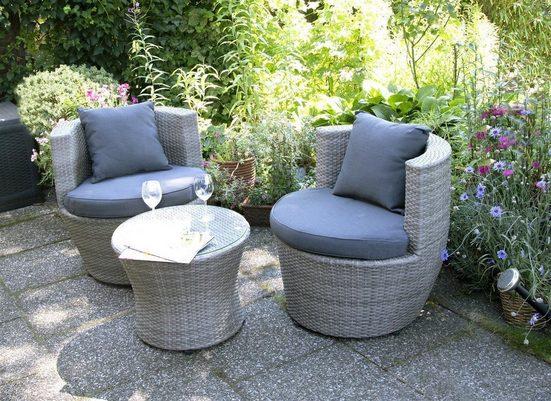 bellavista - Home&Garden® Loungeset »Balkonmöbel Set Luca 3-teilig von bellavista -«, (8-tlg), Sessel: Ø 73x72 cm (L/BxH), Tisch: Ø 54 x 44 cm