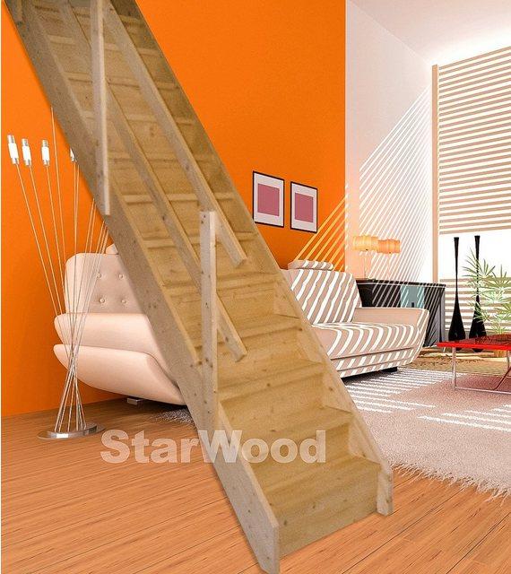Starwood Massivholz Korfu Wangentreppe gerade, mit Setzstufen & Holzgeländer