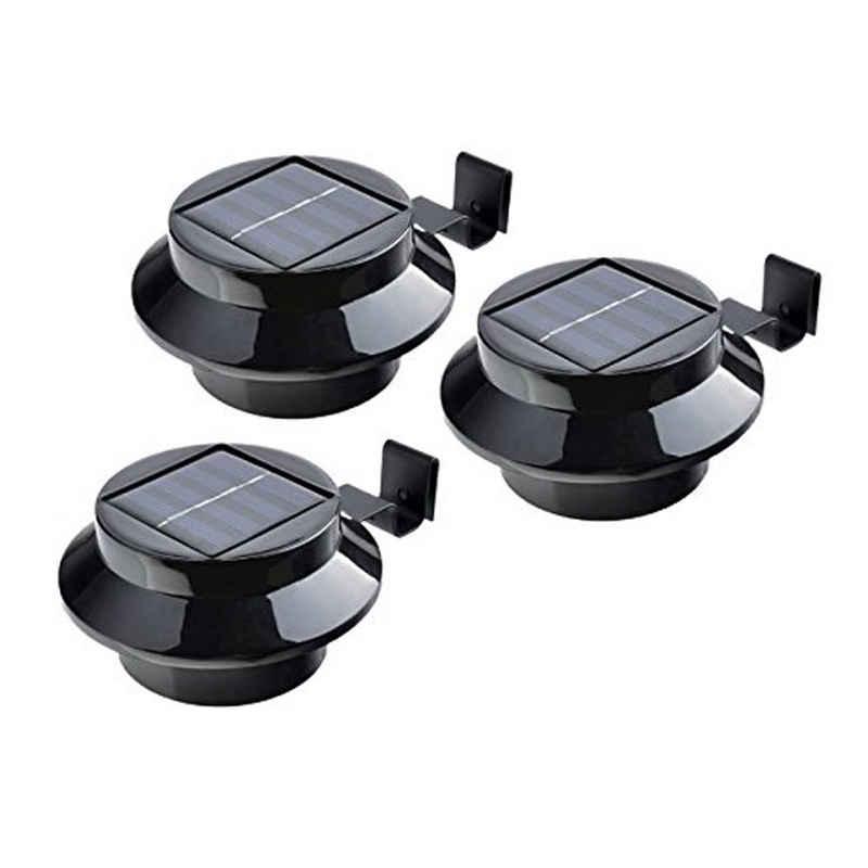 IC Gardenstyle Dachrinnenleuchten »3er Set Solar Dachrinnenleuchte«, Solarleuchte für die Dachrinne & Zäune, inkl. Befestigungsmaterial, schwarz, warm-weißes LED Licht, Tageslicht-Sensor