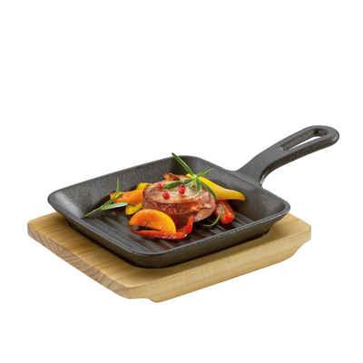 Küchenprofi Grillpfanne »Grill-/Servierpfanne mit Holzbrett«, Gusseisen, Holz (2-tlg), 1 Servierpfanne mit Holzbrett