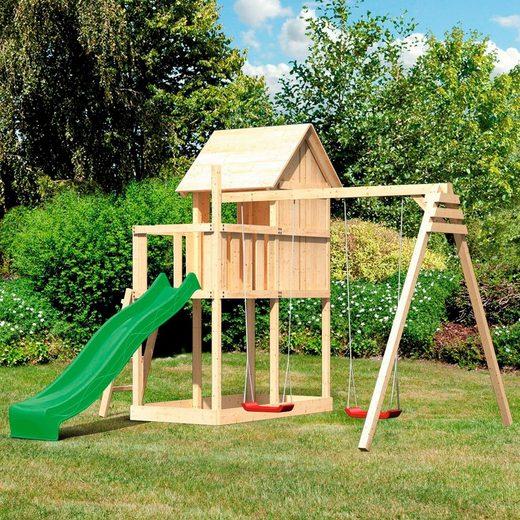 ABUKI Spielturm »Finni«, BxTxH: 347x264x291 cm, mit Schaukel, Rutsche, Sandkasten