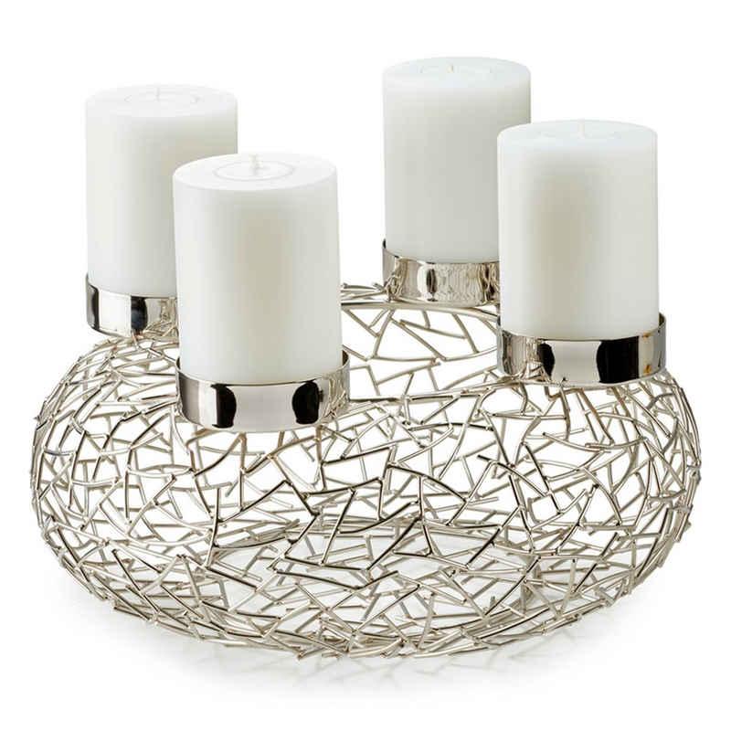 EDZARD Adventskranz »Milano M«, (28 cm) Kerzenhalter für Stumpenkerzen, Weihnachtsdeko für 4 Kerzen á Ø 6 cm, Kerzenkranz als Tischdeko mit Silber-Optik, vernickelt