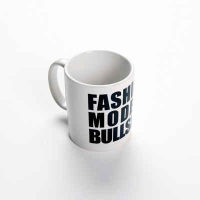Chiccheria Brand Tasse »Fashion Models Bullshit«, weiß mit schwarzer Schrift