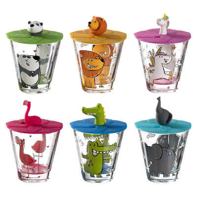 LEONARDO Kinderbecher »BAMBINI Gläser + Deckel mit verschiedenen Kindermo«, Glas