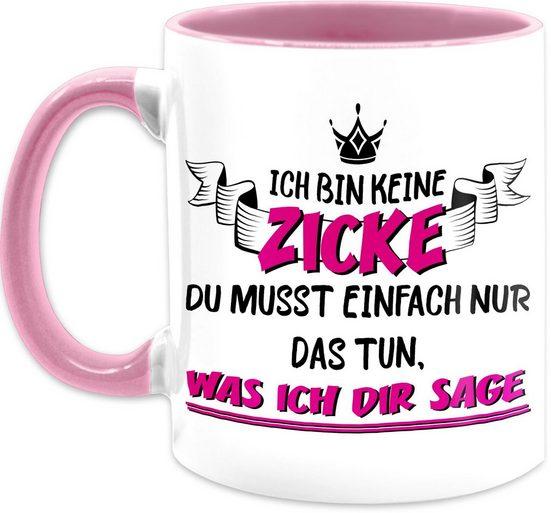Shirtracer Tasse »Ich bin keine Zicke - Kaffeetasse mit Spruch - Tasse zweifarbig«, Keramik, Statement Teetasse