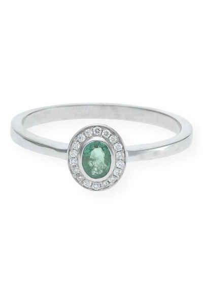 JuwelmaLux Diamantring »Ring Gold Damen mit Diamant(en) und Smaragd(en)« (1-tlg), Weißgold 585/000, inkl. Schmuckschachtel