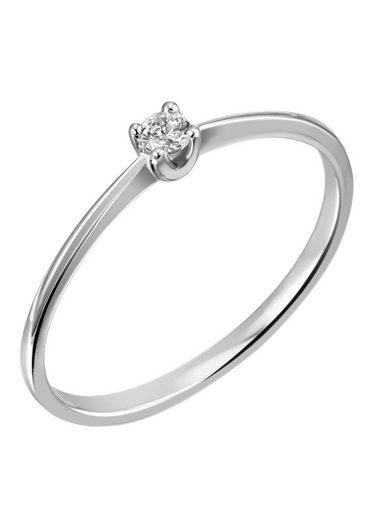 Firetti Diamantring »Solitär, ca. 1,40 mm breit, rhodiniert, Glanz, massiv«, mit Brillant
