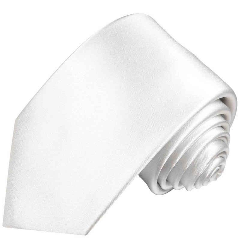 Paul Malone Krawatte »Herren Seidenkrawatte Schlips modern uni satin 100% Seide« Schmal (6cm), weiß 842