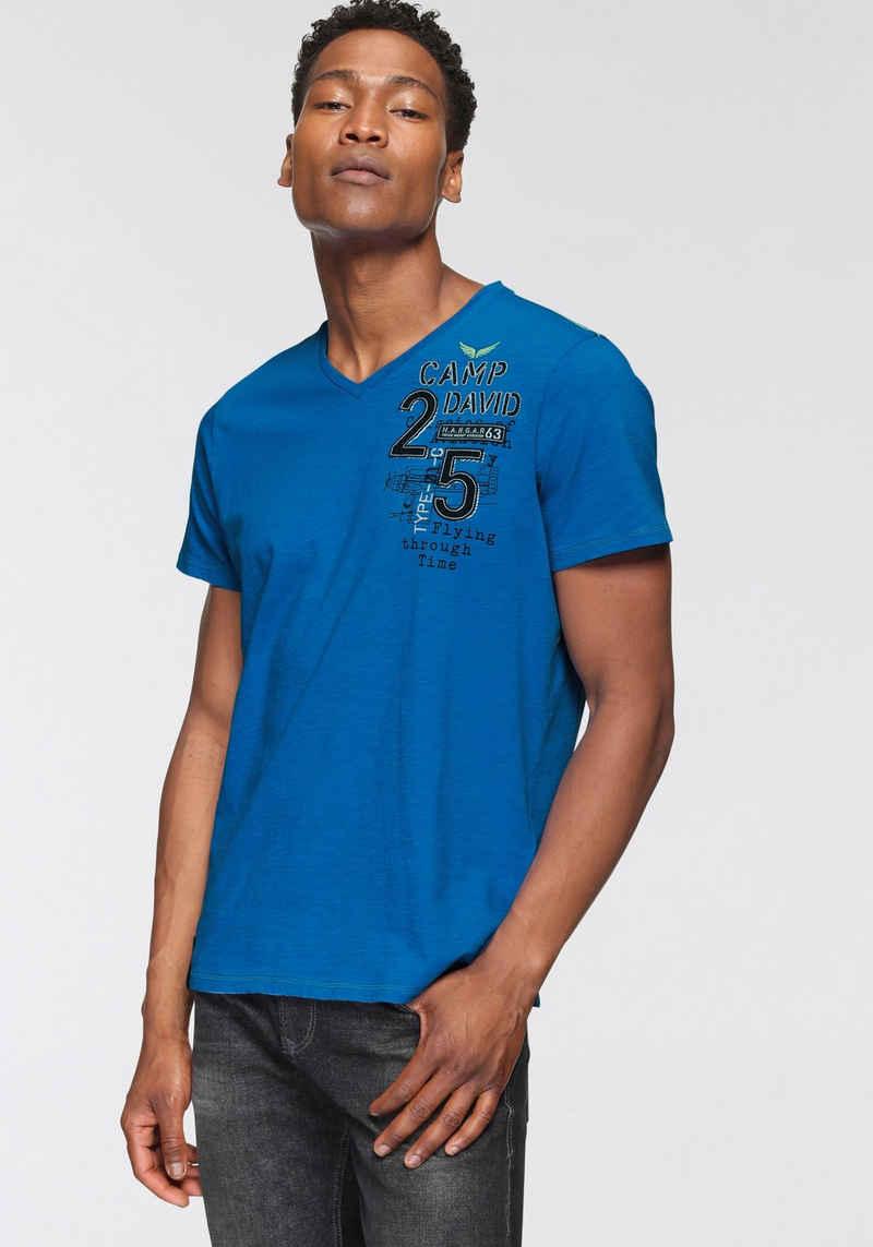 CAMP DAVID T-Shirt mit V-Ausschnitt