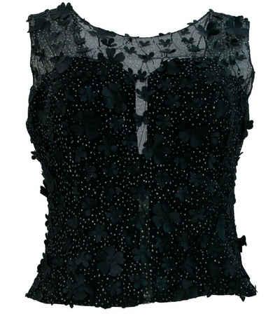 GUIDO MARIA KRETSCHMER Shirttop »GUIDO MARIA KRETSCHMER Top stylisches Damen Spitzen-Top mit Blumen Muster Trend-Shirt Schwarz«
