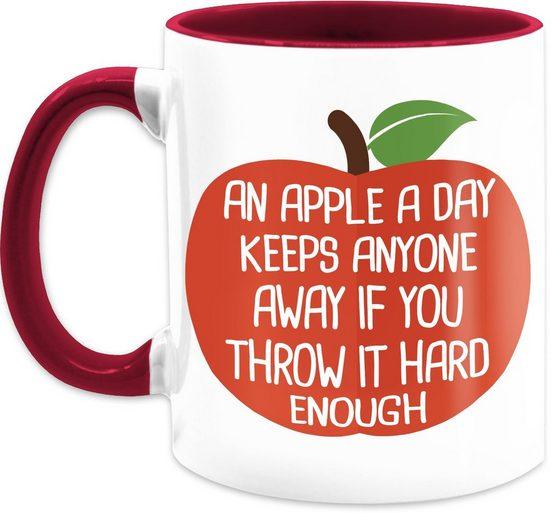 Shirtracer Tasse »An apple a day - Kaffeetasse mit Spruch - Tasse zweifarbig«, Keramik, Statement Teetasse