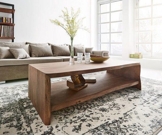 DELIFE Couchtisch »Live-Edge«, Akazie Braun 130x60 cm Baumkante Baumtisch
