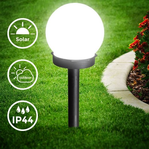 B.K.Licht Gartenstrahler, 8er Set Solar Gartenleuchte, Ø 10 cm, Dämmerungssensor, 6.500 kaltweiß, Automatisch Ein/Aus, LED-Kugel, IP44 Außenlampe