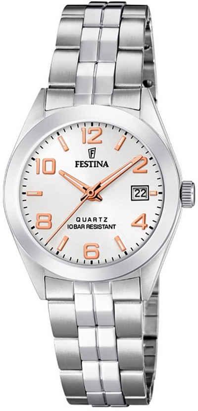 Festina Quarzuhr »UF20438/4 Festina Damen Uhr F20438/4 Edelstahl«, (Analoguhr), Damen Armbanduhr rund, Edelstahlarmband silber