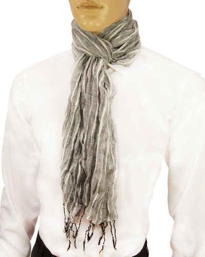 Paul Malone Modeschal »Herren Crinkle Schal 100% Baumwolle Winter, Sommer, Herbst und Frühling gestreift«, grau weiß HS12
