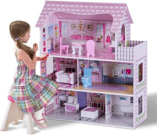 COSTWAY Puppenhaus »Puppenstube Puppenvilla Spielzeug Holz«, 3 Etagen mit Möbeln und Zubehör