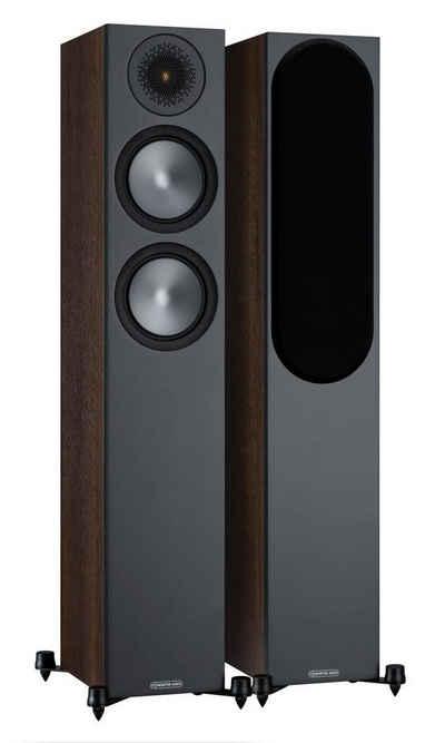 MONITOR AUDIO Bronze 200 (6G) Standlautsprecher Walnuss [Paar] Stand-Lautsprecher (120 W, Standlautsprecher, 1 Paar, inkl. robuster Füße mit Spikes und Gummifüßen, inkl. abnehmbarer Lautsprecherabdeckungen)