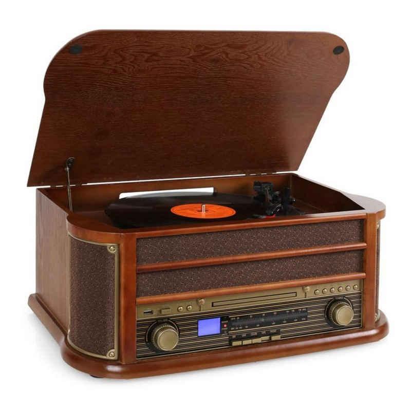 Auna »Belle Epoque 1908 Retro-Microanlage USB CD MP3 Vinyl Holzgehäuse« Plattenspieler