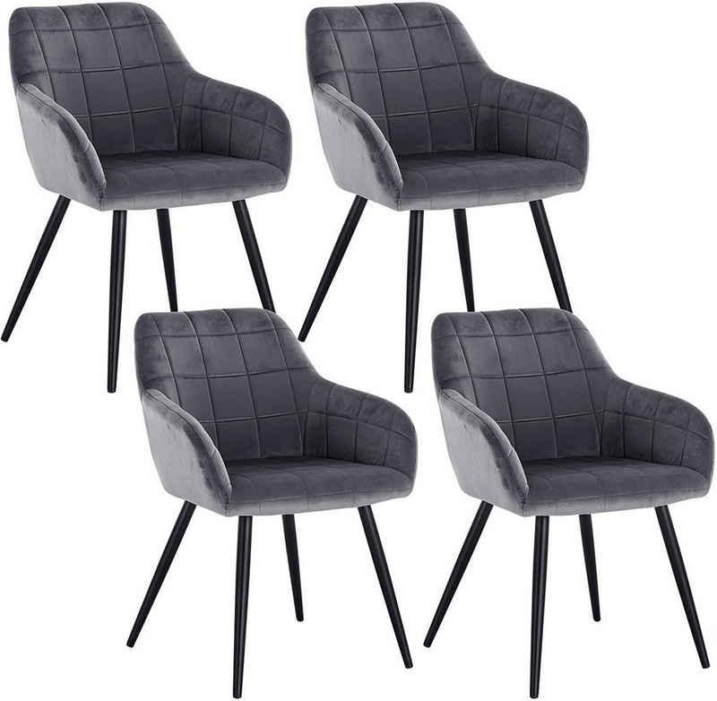 Woltu Esszimmerstuhl »BH93« (4er-Set), mit Armlehne, mit Sitzfläche aus Samt, Gestell aus Metall