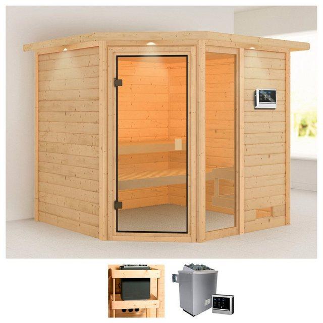 Saunen und Zubehör - KARIBU Sauna »Tally«, 224x210x191 cm, 9 kW Ofen mit ext. Steuerung, Dachkranz  - Onlineshop OTTO