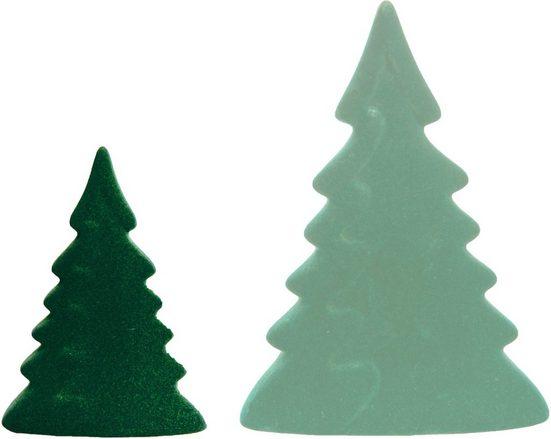 VALENTINO Wohnideen Dekobaum »Moria« (Set, 2 Stück, 1x klein/dunkelgrün, 1x groß/hellgrün), mit Samtüberzug